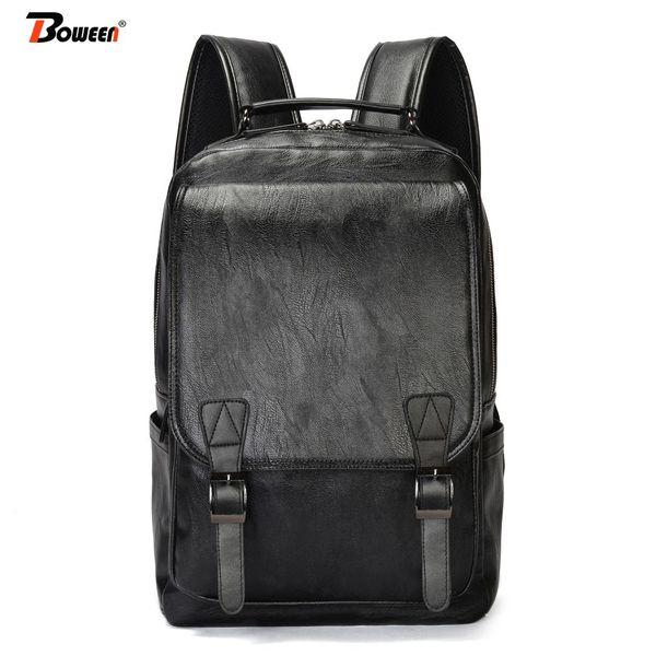 pu leather backpack men Vintage school bags for teenage large solid brown black schoolbag University high school bookbag 2019