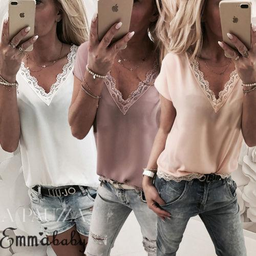 Fashion Womens V-neck Lace Tanks Vest Ladies Girl Summer Short Sleeve Party Casual Loose Striped Crop Tops Tees C19041601