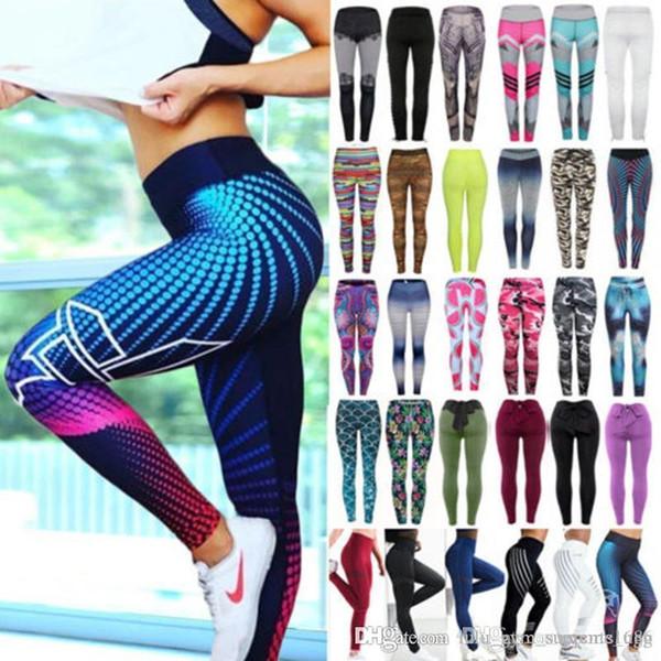 Donna vita alta Pantaloni Yoga Acquista Stampa Sport Fitness Gym stirata delle ghette pantaloni lulu yoga abiti yoga rifornisce pantaloni a buon mercato in palestra tuta Athletic