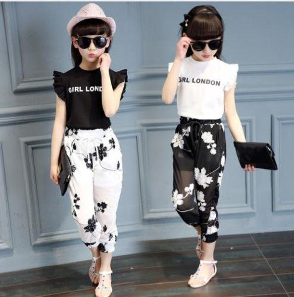 2019 Summer Big Girls Suit Girl Vêtements Ensemble Enfants Sans manches Princesse Enfants Vêtements Ensemble 5 6 7 8 9 10 11 12 13 14 ans