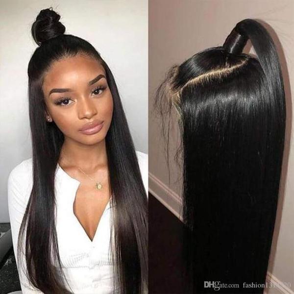 Perruques Frontales en Dentelle 13 * 4 Brésiliennes En Dentelle Droite Perruques Cheveux Naturels 150% Perruques Cheveux Naturels Préplumés