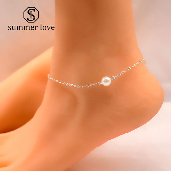 2019 New Fashion Simple Pearl Pendant Anklet Bracelet for Women Bohemia Gold Silver Creative Foot Chain Anklet Bracelet Designer Jewelry