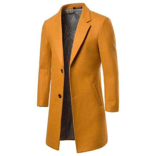 Slim Plus Size Men Coat 2019 Fashion Mid-Long Style Button England Style Men Coat Winter Wear Suit Collar Warm Mid Long