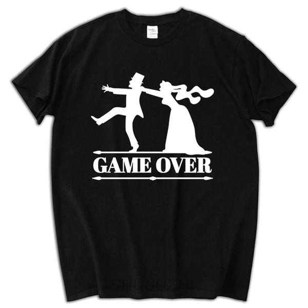 Moda Uomo T shirt maglietta di stile di base O-Collo Organic Cotton Game Over sposa sposo Bachelor Bachelorette Party per gli uomini