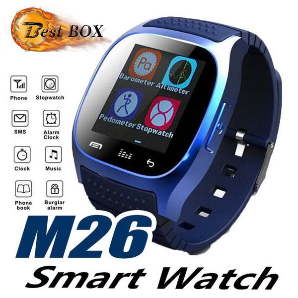 M26 SmartWatches Ile Ucuz Bluetooth Akıllı İzle Müzik Çalar Pedometre IP Android Akıllı Telefon Için moda İzle Akıllı Saat