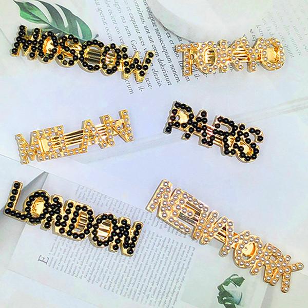 2019 Alfabeto inglese Nero Bianco Colore Imitazione Perla Forcina Donna Top Clip Ins Liu Seaside Clip Accessori per capelli europei americani Regalo