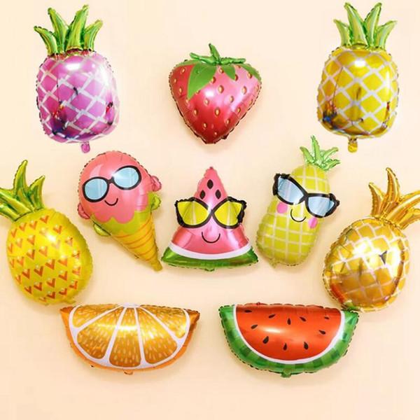New style cartoon Fruit shape balloon Pineapple watermelon ice cream foil balloon anniversary Birthday party Decoration