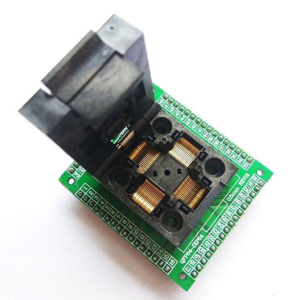 Freeshipping TQFP64 LQFP64 QFP64-Sockeladapter IC-Chip-Test brennender Sitz STM32 QFP64 0.5m Programmierer LQFP64 Adapter