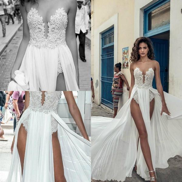 Compre Julie Vino 2020 Vestidos De Boda Para La Playa Muslos De Aberturas Altas Boho Vestidos De Novia Con Encaje Vestidos De Novia De Gasa Con