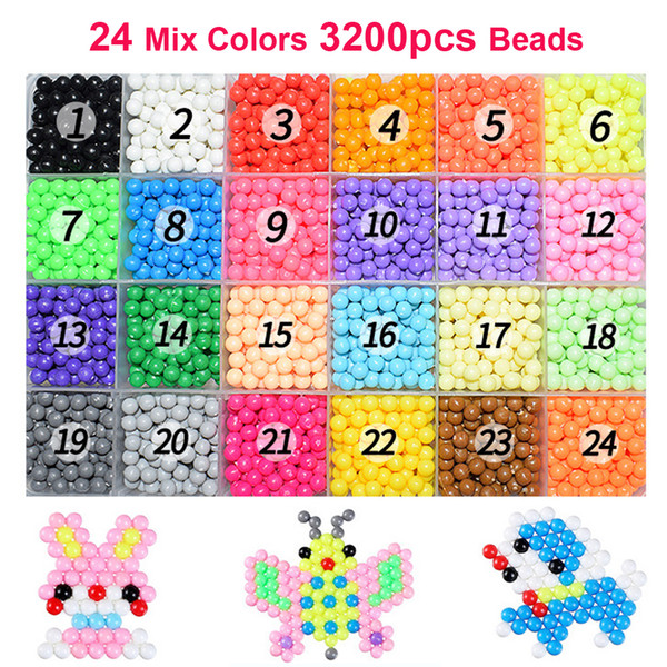 3200pcs 5mm Magic Water Spray Beads Creative DIY Kit Ball Puzzle Game 3D Beads Puzzle Toys Educational Toys For Children Gifts
