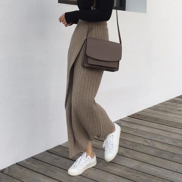 long skirts long skirt women winter autumn knitting skirt high waist long pencil skirt women open slit knitted casual vintage maxi qh1699