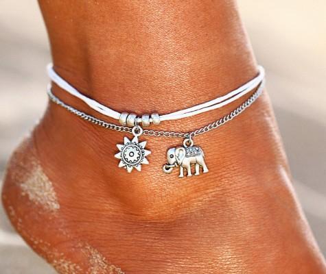 Boho tobillera playa cuerda en capas tobillera pulsera joyería hecha a mano del pie para mujeres adolescentes niñas