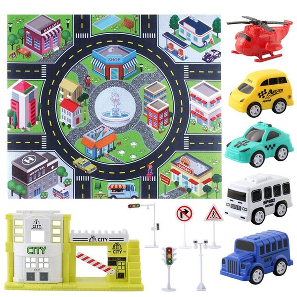 best selling Carpet Playmat with Cars Vehicle Set for Kids Age 3+, Small Play Room Rug, City Pretend Play