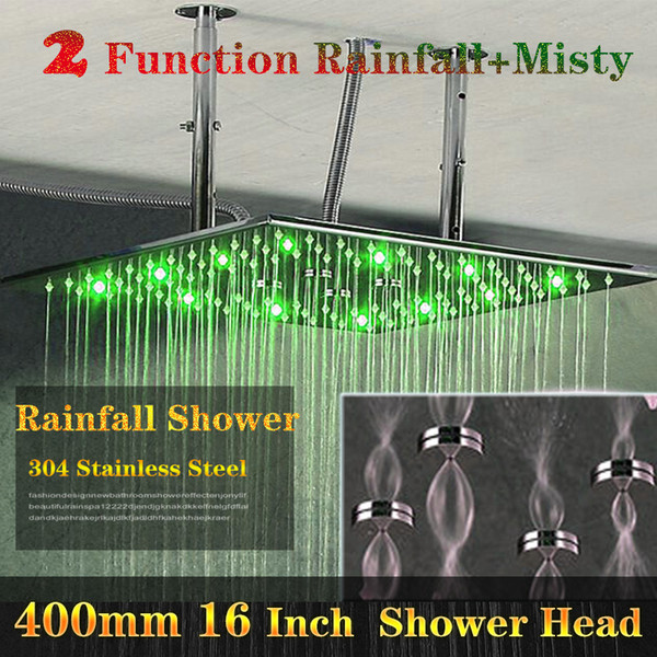 Bathroom Accessory Multiple Functions LED Light Shower 16 Inch 304 SUS Ceiling Rain Shower Head With 3 Color Changing