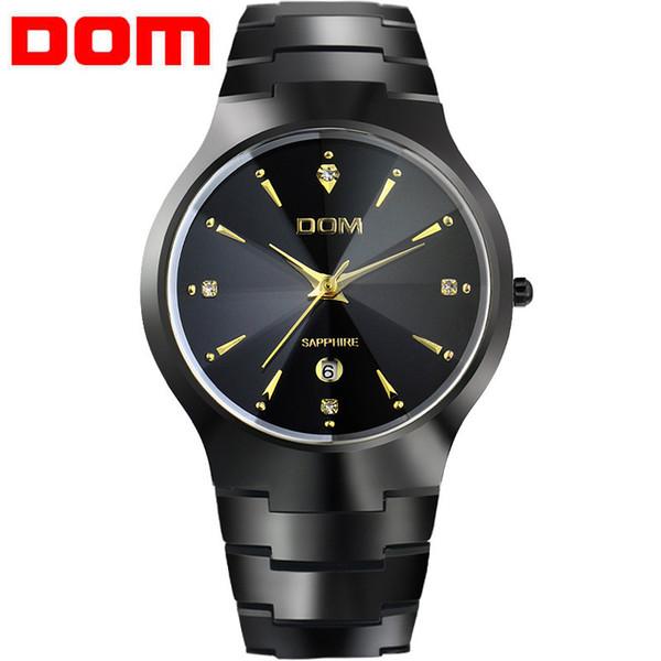 Модные часы мужские люксовый бренд Топ вольфрамовой стали часы DOM  кварцевые мужские наручные часы Мужские часы f4eb4c6c37978