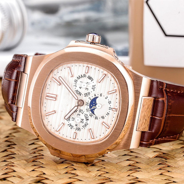 Mens sports watch Multi-function design Automatic movement Automatic moon phase 316 stainless steel case Casual leather strap With box X246