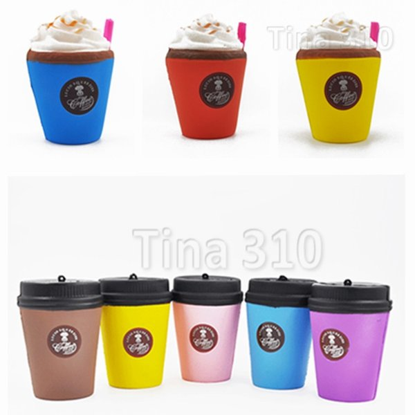 New Cute Squishy Coffee Cup Slow Rising Jumbo Milk Bag pendant Soft Coffee Cup Charms Kids Fun Decompression Toys T2G5016