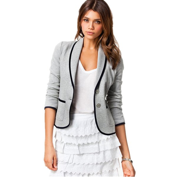 Grey New Spring Autumn Coats New College Wind Outwear Short Blazer Slim Casual Small Suit Women Jacket Plus Size Female Tops