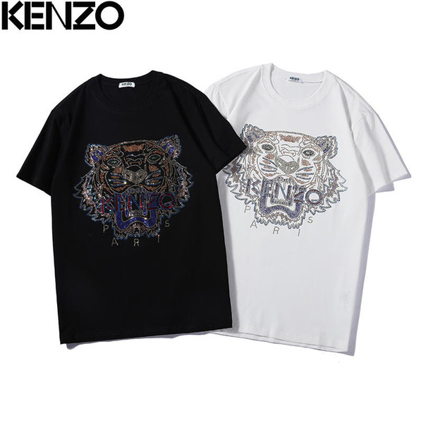 Mens Fashion Brand T shirt Summer Causal Style Tops Brand Tees Short Sleeve Tiger Beads Letters Print Tees Men Clothing Size S-XXL A26#