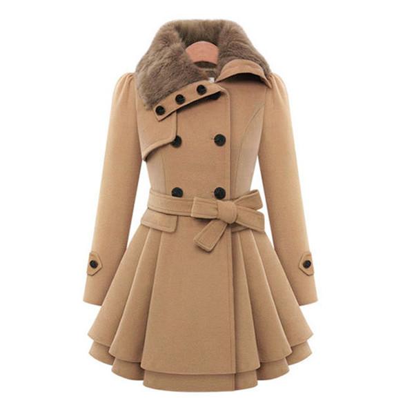 Otoño Abrigo de invierno Mujer Mezcla de lana Trench Abrigo abajo Abrigo Mujer Rojo Manga larga Peacoat Elegante Abrigos 4XL Tallas grandes