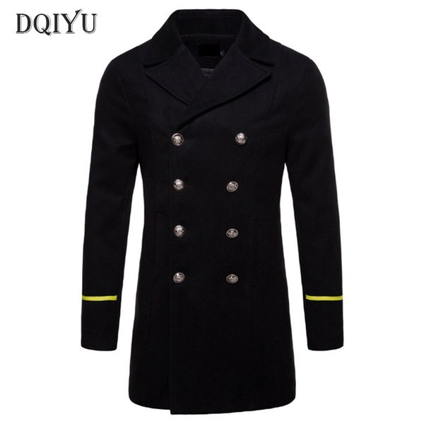 New Boutique Wool Coat Men Autumn Black Windbreaker Jacket Pea Coat Winter Thicken Long Woolen Male Overcoat Europe/US Size