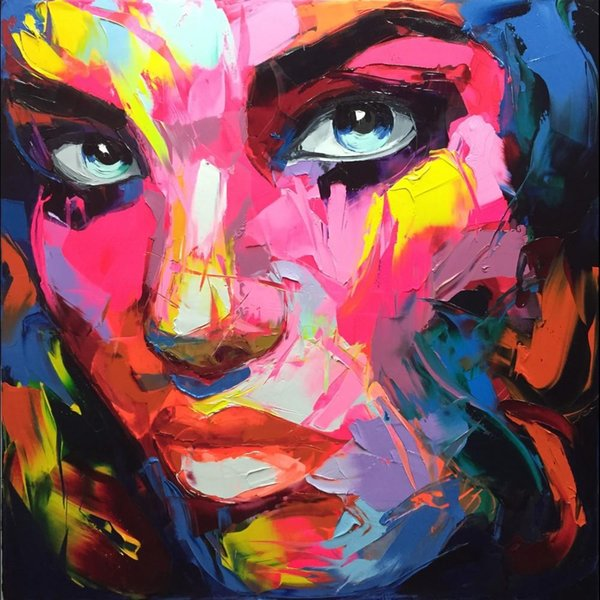Francoise Nielly Palette Knife Impression Home Artworks Modern Portrait Handmade Oil Painting on Canvas Concave and Convex Texture Face008