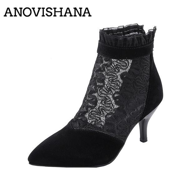 ANOVISHANA Plus Size 43 Pointed toe thin High Heel Shoes Zip Black mesh ankle boots Ladies Daily Work Dress botas bottines