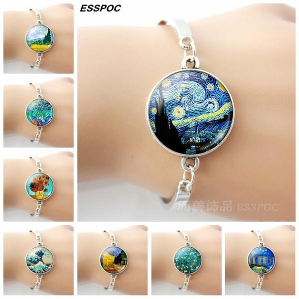 Van Gogh Art Picture Print Bracelets Glass Dome Silver Metal Charm Bracelet Women Summer Fashion Handmade Jewelry Birthday Gifts