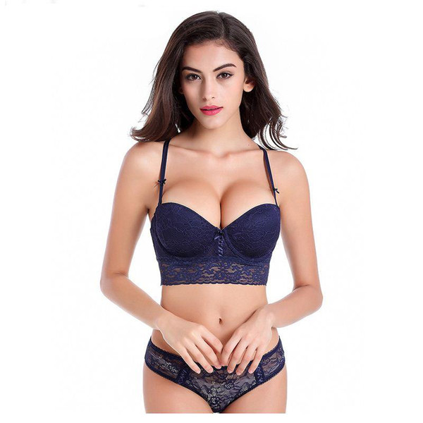 Sexy Mousse Hot Luxury lace 1/2 cup Y buckle beauty back sexy women Lingerie push up bra set 19860