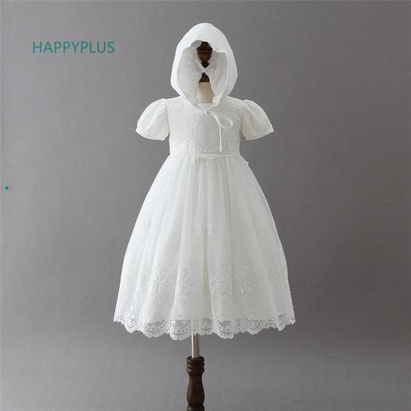 Happyplus Baby Girl Lace Battesimo Dress Bambino Maxi Infantile Baby Dress Battesimo 3 6 12 18 24 Mesi Abiti da cerimonia formale Y190516