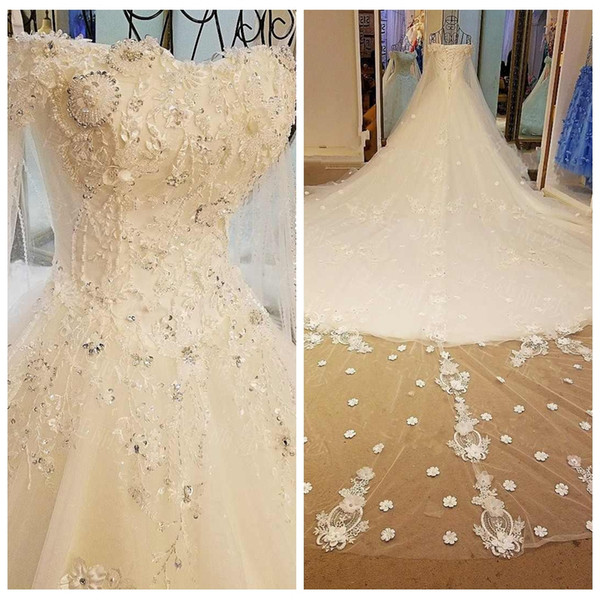 Cowl Backs Wedding Dress Beads Sweep Train Ball Gown Wedding Dresses Long Tail Sequins Wedding Dress Bridal Gown Dress robe de mariée