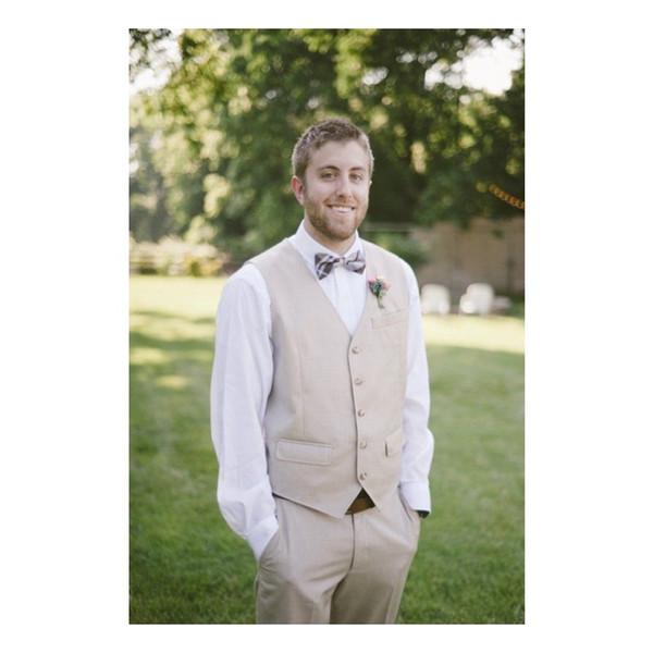 2019 Wedding Vests Slim Mens Suit Vests Custom Made Pockets Wedding Waistcoat Mens Dress Vest Groom Vest Two pieces (Vest+Pants)