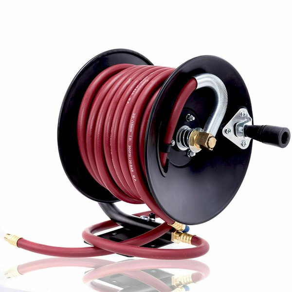 """best selling Manual Air Hose Reel Hand Crank with 3 8"""" x 50ft Rubber Air Compressor Hose New"""