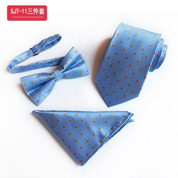 Premium Light Blue Background Color Gold Dot Ties&Bow Tie&Hanky Set Silk Jacquard Elegant Daily Wear Accessories