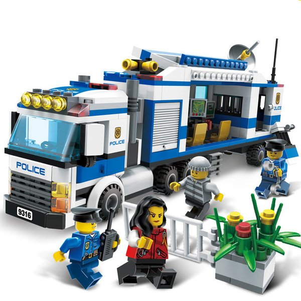 407 Adet Şehir Polis Mobil Polis İstasyonu Ünitesi Modelleri bina oyuncak şehir şehir hobileri ile uyumlu 9316 Yapı Taşları SH190915