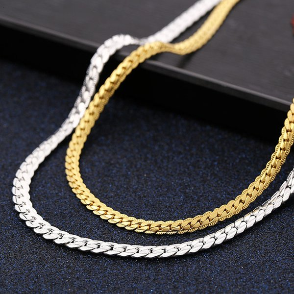5MM Fashion Luxury Jewerly 18k Yellow Gold plated Cuban Link Chain Mens Necklace Women Jewelry 50cm (19.7inch)
