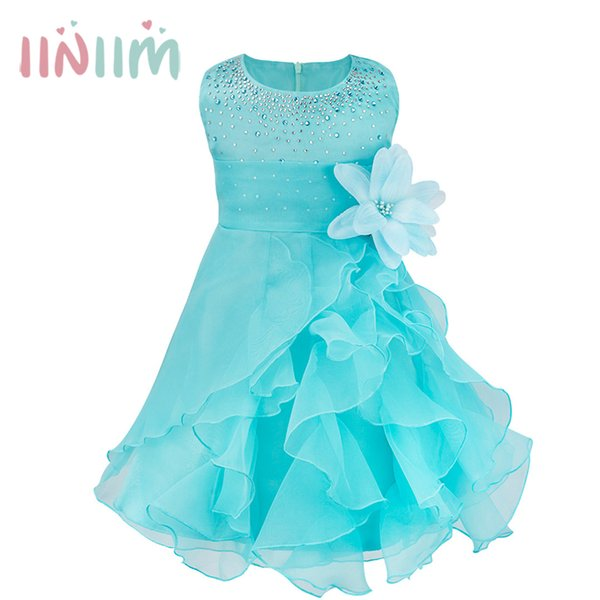 Iiniim Infantil Baby Girls Wedding Dress Baptism Christening Gown Pageant Dress With Pearls Toddler Kids Princess Party Clothes MX190719