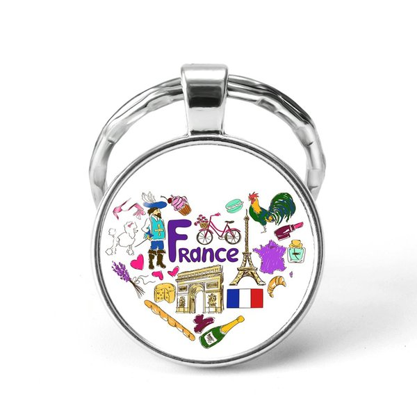 Style16 Quotes Jewelry Ethnic Style Keychain Russia USA France Italy Finland Indianationality Keyring Glass Cabochon Keyring Keychain