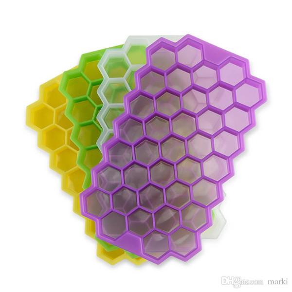 Marki con tapa de silicona de hielo bandeja del cubo de hielo del molde Freeze bandeja del cubo 37 de la cavidad de fabricación de hielo Caja de nido de abeja molde para partido de la barra 100pc Herramientas wn511A