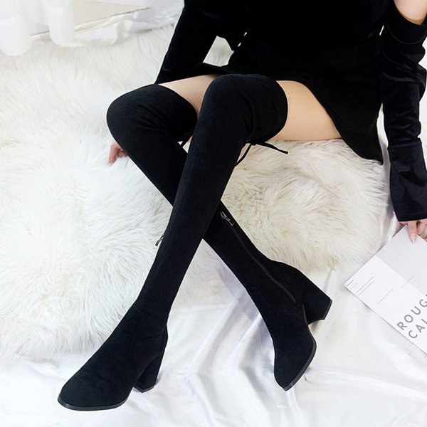 Round Toe Winter Boots Lady Sexy Thigh High Heels High Sexy Women's Rubber Shoes Rain Boots-women Booties Ladies 2020 Women's