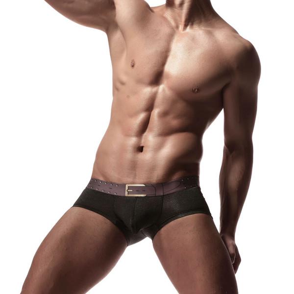 Boxer sexy da uomo Boxer da uomo Boxer da uomo in cotone a vita bassa Slim Bag U convesso Pouch Small Trunk Belt Printed Decoration
