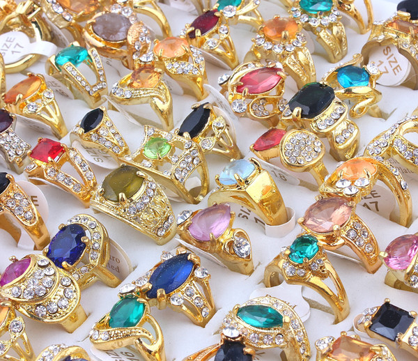 Top Quality Advanced And Diverse Alloy Gold-Plated Rhinestone Resin Drill Ring New Mixed 40Pcs Man And Woman Charm Luster Rings 6-9
