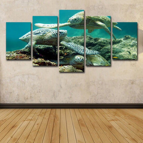 5 Pièce HD Imprimé Sous-marine Mer Tortue Peinture Toile Imprimer Room Decor Imprimer Affiche Image Toile Livraison Gratuite