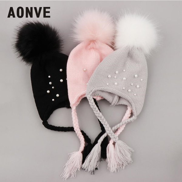 Aonve Baby Winter Beanies Kawaii Pompom Knitted Skullcap Warm Hiver Small Beanie Knit Headwearing Pink Gray Black Bonnet
