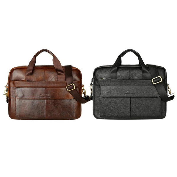 Genuine Leather Crossbody Bags Solid Color Briefcase Handbags for Bussness Men Shoulder Crosscody Bags 2019 Hot Selling