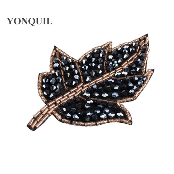 New style 10.5*7 CM Fashion leaf shape Rhinestone beaded Caps patches sewing on For hats clothing Diy Jewelry Making Accessories