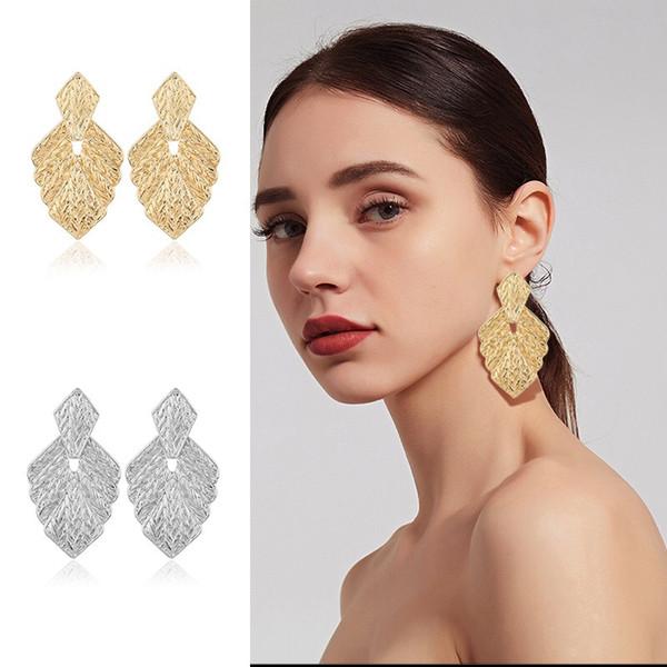 earrings for women mapleleafshape mental material gold silver 2 colours