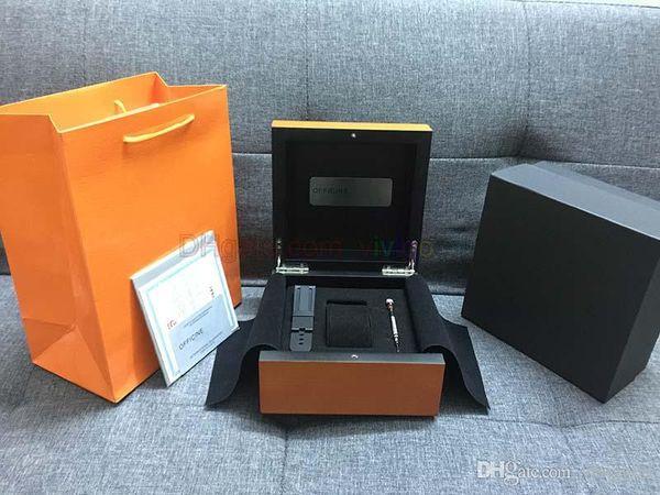 pam Orange Watch scatola regalo in legno con carte e libretto Include cinghie di gomma di ricambio e accessori 1860