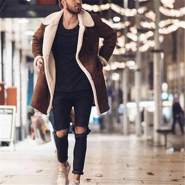Hiver Mens Designer Veste Nouveau mode chaud épais Toison Faux cuir manteaux de marque Manteau double boutonnage Hommes