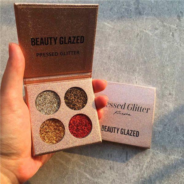 Schönheit glasierte Glitter-Augenschminkepalette langlebiges wasserdichtes 4 Farbschimmer-Make-upwerkzeug 789